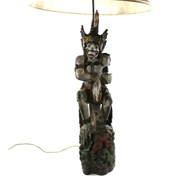 1800s Antique Wood Balinese Demon Lamp | Chairish