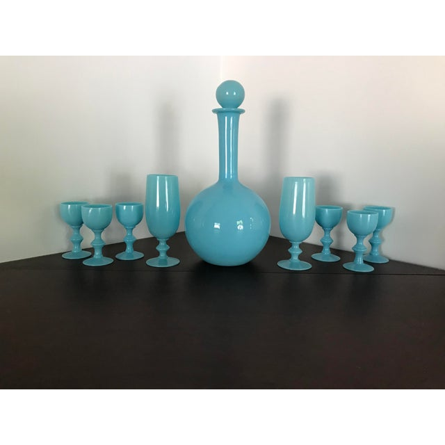 Sky Blue Early 20th Century French Blue Opaline Decanter & Cordial Goblets Glassware by Portieux Vallerysthal - Set of 9 For Sale - Image 8 of 10