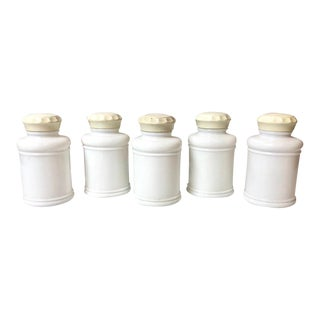 Vintage Milk Glass Spice Jars - Set of 5 For Sale