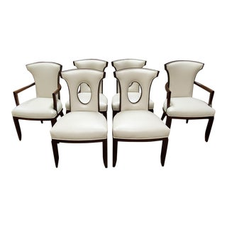 Henredon Furniture Barbara Barry Perfect Parsons Cream Leather Dining Chairs - Set of 6 For Sale