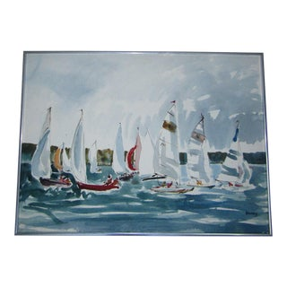 1960's Regatta Sailing Scene Watercolor Painting by Michael Frary For Sale