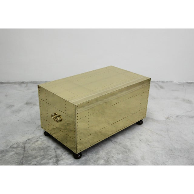 1970s Vintage 2 Drawer Brass Studded Coffee Table Chest Made in Spain by Sarreid For Sale - Image 5 of 7