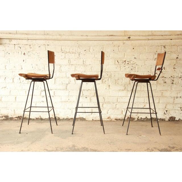 Arthur Umanoff for Raymor Mid-Century Modern Bar Stools - Set of 3 - Image 6 of 7