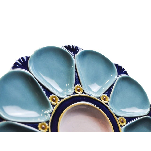 Minton Majolica Oyster Plate For Sale - Image 9 of 11