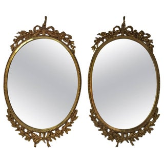 Pair of French Ormolu Oval Mirrors, Circa 1900 For Sale