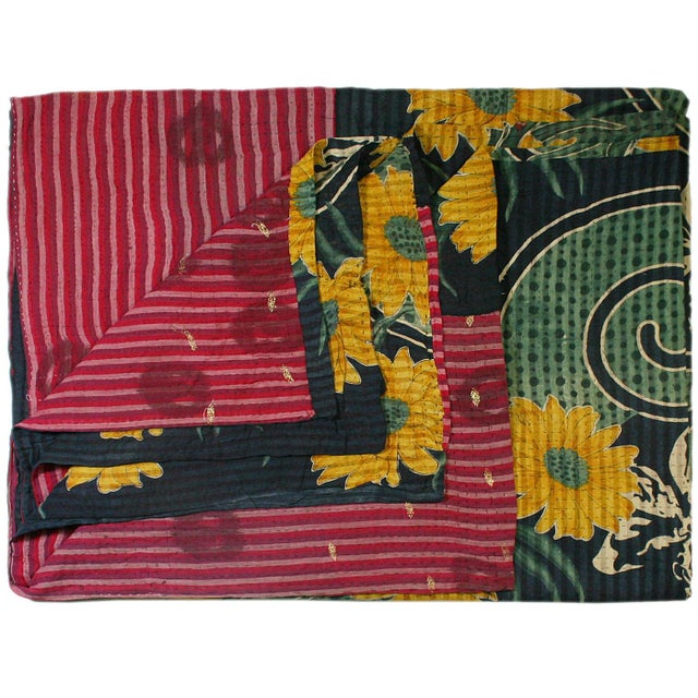 Navy and Sunflower Vintage Kantha Quilt - Image 1 of 2