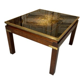 Vintage Mid Century French Maison Jansen Eglomise Glass Map of Britannia Side Table, Black For Sale