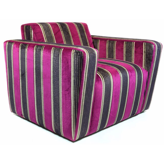 British Airways First Class Striped Club Chair - Image 1 of 10