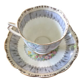 1970s Traditional Royal Albert Silver Birch Tea Cup and Saucer - 2 Pieces