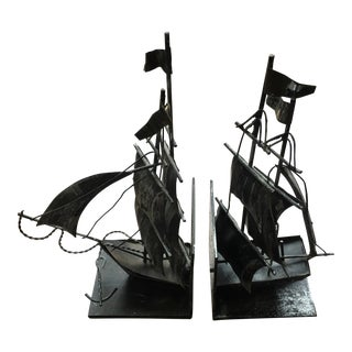 1920s Peter Pan Jolly Roger Pirate Ship Bookends - a Pair