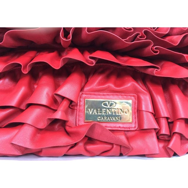 Early 21st Century Valentino Large Red Leather Ruffle Shoulder Bag For Sale - Image 5 of 11