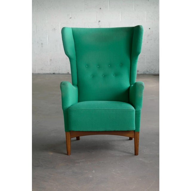 Fabric Fritz Hansen 1950s Danish Wingback Chair Model 8023 With Ottoman For Sale - Image 7 of 12