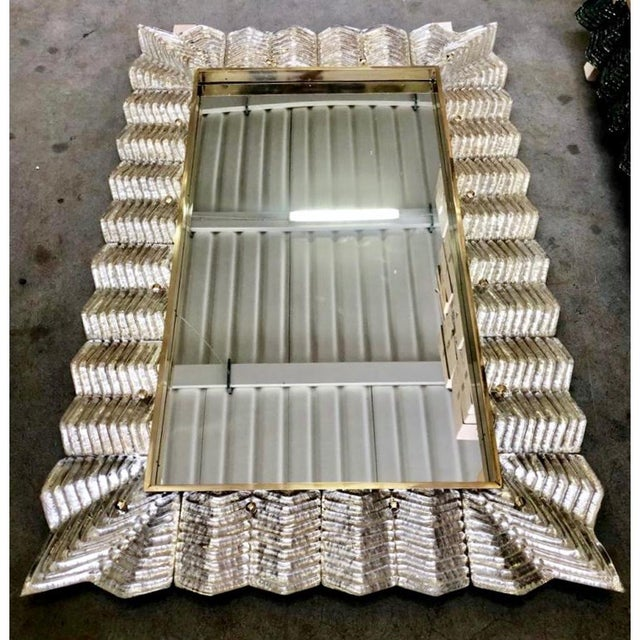 Not Yet Made - Made To Order Bespoke Italian Art Deco Design Ruffled Silver Pink Murano Glass Brass Mirror For Sale - Image 5 of 9