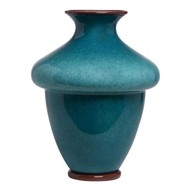 "1950's Barovier & Toso Blue Murano Italian Art Glass 16"" Vase For Sale"