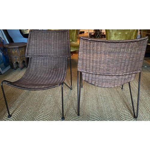 Late 20th Century Scoop Form Rattan Lounge Chairs in the Manner of Frederick Weinberg - a Pair For Sale - Image 5 of 10