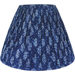 New, Made to Order, Indigo Blue Block Print Fabric, Large Pleated/Gathered Lamp Shade Shade Preview
