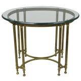 Image of Vintage Hollywood Regency Brass and Beveled Oval Glass Top Side Table For Sale