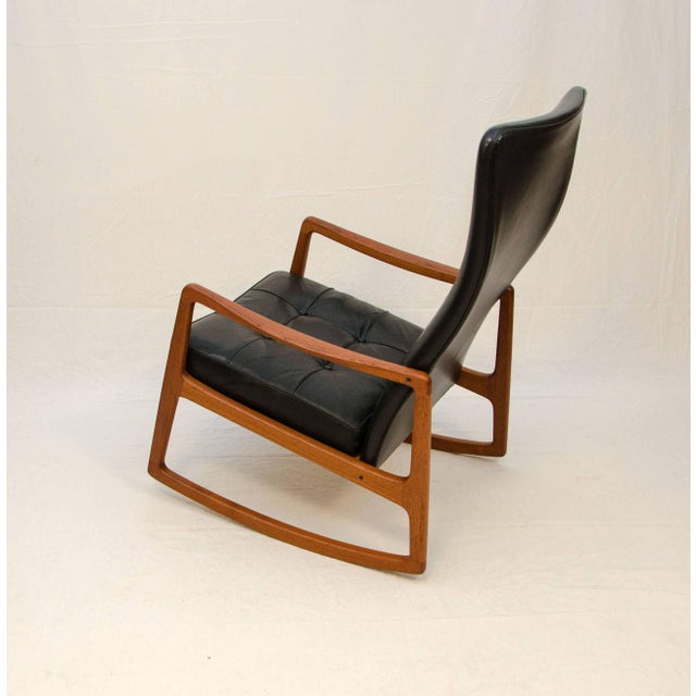 Danish Teak and Leather High Back Rocking Chair by Ole Wanscher For Sale In San Francisco - Image 6 of 11