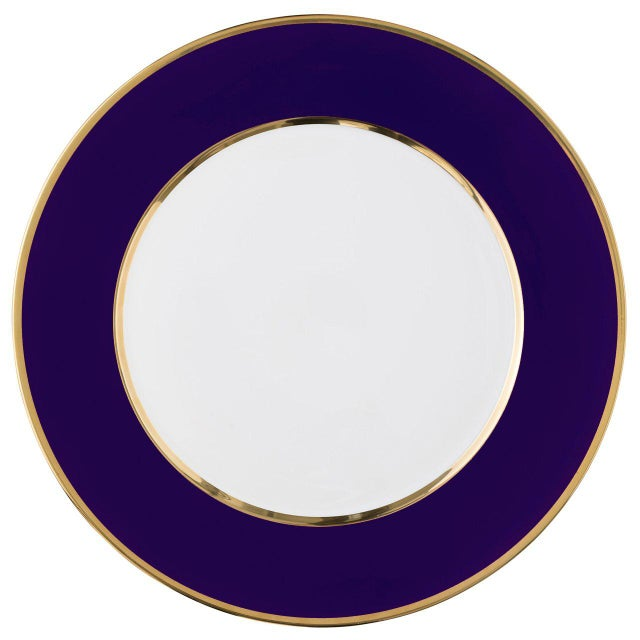 """Not Yet Made - Made To Order """"Schubert"""" Charger in Aubergine & Narrow Gold Rim For Sale - Image 5 of 12"""