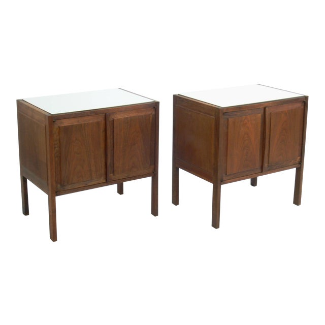 Jack Cartwright for Founders Walnut White Laminate Top Nightstands / End Tables - Set of 2 For Sale