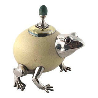1970s Anthony Redmile Signed Ostrich Egg Frog Prince Box For Sale