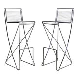 Image of Mid Century Modern Contemporary Chrome Metal Wire Bar Stools- A Pair For Sale