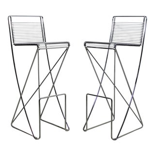 Mid Century Modern Contemporary Chrome Metal Wire Bar Stools- A Pair For Sale