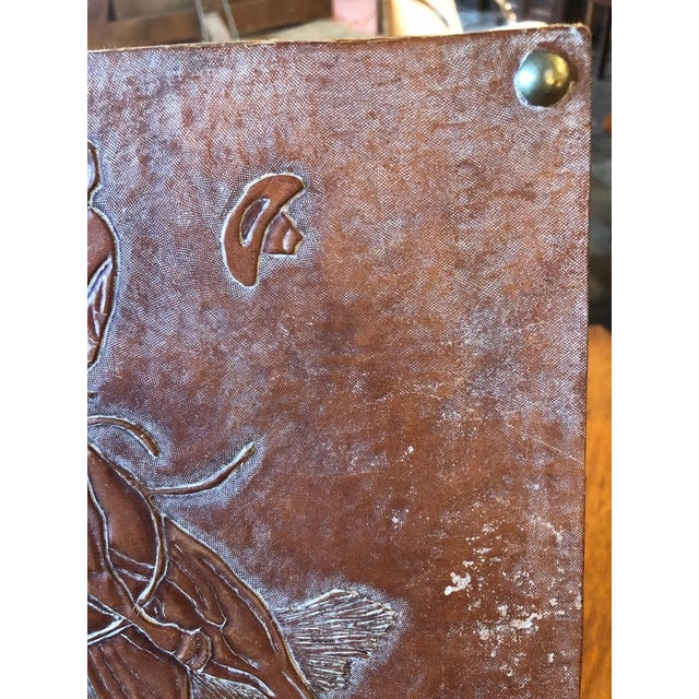 Rustic Leather Tooled Cowboy Plaque For Sale - Image 3 of 9