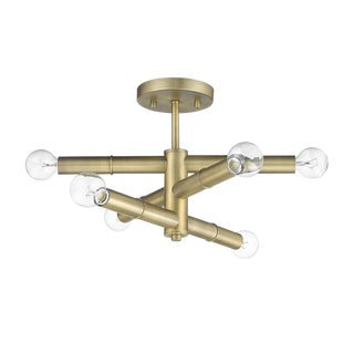 Linear 6 Light Semi-Flush Ceiling, Antique Brass For Sale