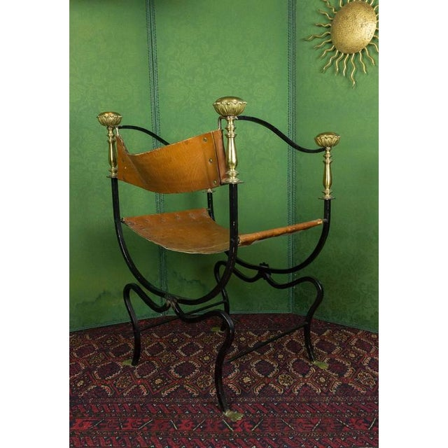 Early 20th Century 20th Century Italian Iron Campaign Chair For Sale - Image 5 of 11