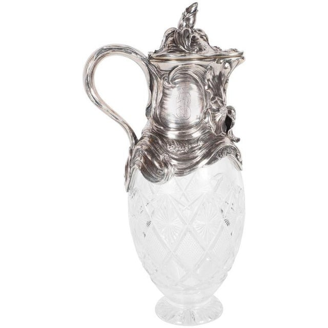 Art Nouveau Sterling Silver and Cut Crystal Wine Decanter or Water Pitcher For Sale - Image 11 of 11