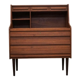"Danish Mid Century Teak Secretary Desk - ""Sandbanke"" For Sale"