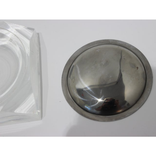Octagonal Lucite & Stainless Steel Candy or Nut Dish Bowl For Sale - Image 9 of 10