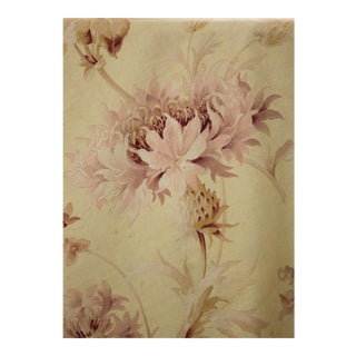 Art Nouveau Faded Yellow Floral Fabric with Large Pink Flowers For Sale