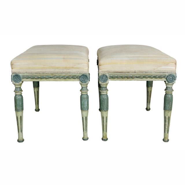 Swedish Neoclassic Painted Benches - a Pair For Sale - Image 9 of 11