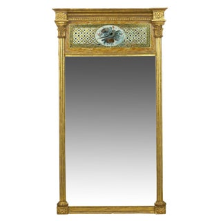 American Federal Giltwood Eglomise Antique Pier Mirror C. 1805-15 For Sale