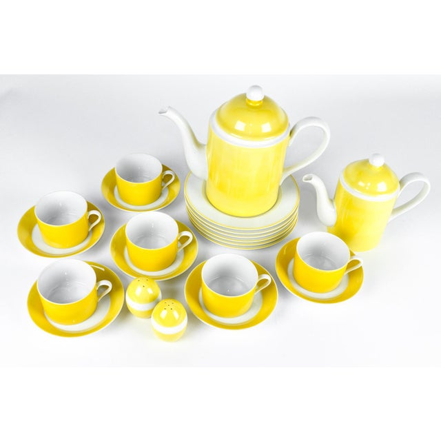 This is a vintage lemon color porcelain F&F tea and coffee luncheon service set. All together it is 30 pieces. Each piece...