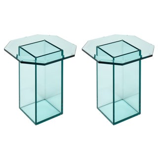 French Vintage Set of Glass Side Tables