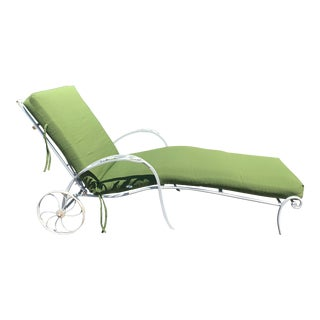 Salterni Wrought Iron Chaise Lounge With Cushion For Sale