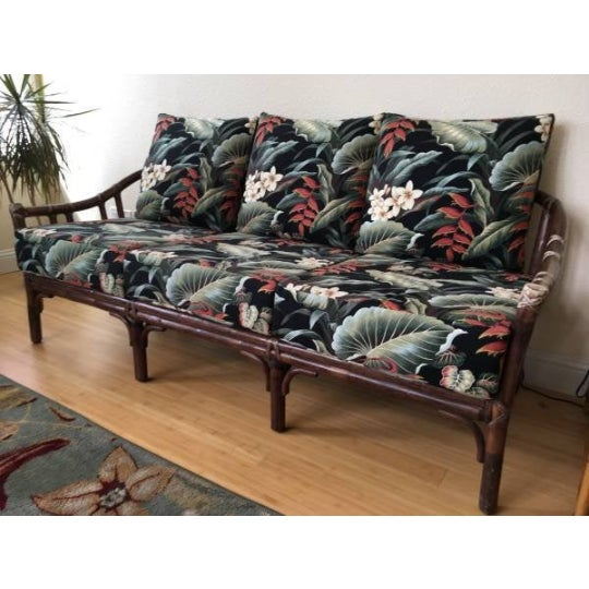 Japanese Vintage McGuire Rattan Sofa With Hawaiian Style Barkcloth Floral Cushions For Sale - Image 3 of 3