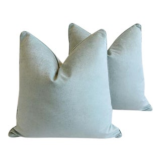 "Ocean Sea Mist Velvet Pillows Feather/Down 24"" Square - Pair For Sale"