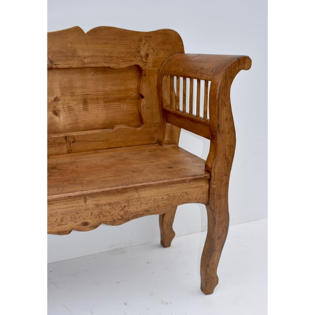 Brown Pine and Oak Bench or Settle For Sale - Image 8 of 13
