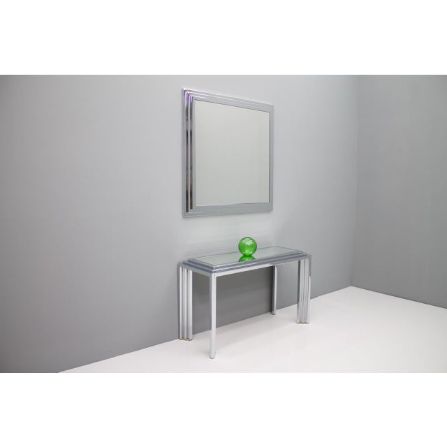 Hollywood Regency Chrome Mirror and Console Table, France, 1974 For Sale - Image 6 of 11