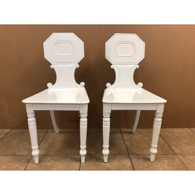 Pair of 19th Century English White Lacquered Hall Chairs For Sale - Image 9 of 9