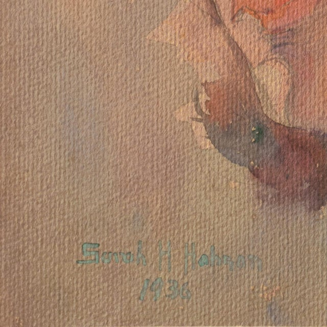 Signed lower left, 'Sarah H. Hobson' and dated, '1936'. A delicately modeled, gouache and watercolor study of a young...