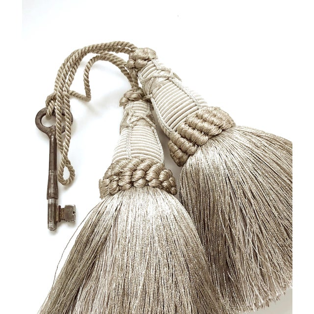 Pair of Key Tassels in Pewter With Looped Ruche Trim For Sale - Image 9 of 11