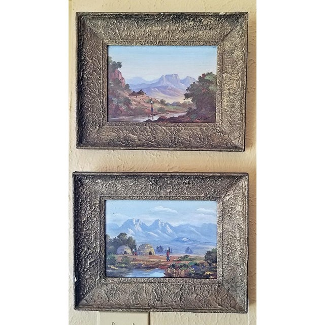 Blue 20c Pair of Oil on Boards by Percy Wort of Natal South African Scenes For Sale - Image 8 of 8