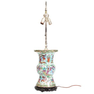 19th Century Chinese Painted Blue Green and Rose Mandarin Table Lamp For Sale