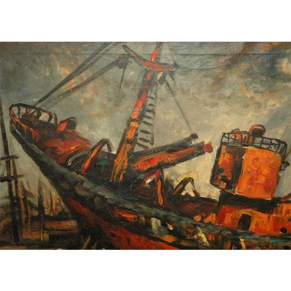 Wpa Style Ship Paintings - Set of 4 For Sale In Los Angeles - Image 6 of 10