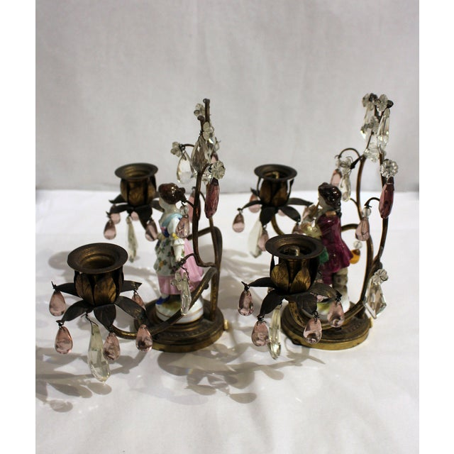 French Gilt Bronze Porcelain Figurine Candelabras - a Pair For Sale - Image 3 of 11